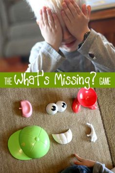 A memory activity to boost kids minds. Use any objects and remove one to see if they can guess what's missing. A great busy activity when you need it.