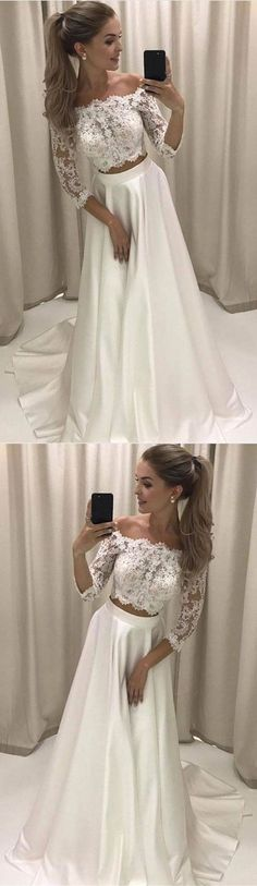 Two Piece Off-the-Shoulder 3/4 Sleeves White Prom Dress With Lace M1216#prom #promdress #promdresses #longpromdress #promgowns #promgown #2018style #newfashion #newstyles #2018newprom#eveninggown#twopiece#offshoulder#3/4sleeve#whitelacepromdress