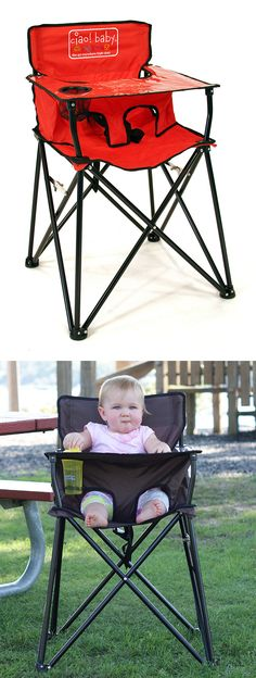 Baby Portable Travel High Chair - Folds up into a carrying bag just like a camp chair! Perfect for the park, camping, restaurants, travel, etc. Awesome invention! #product_design