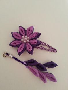 つまみ細工 お花のヘアピン 下がり付き 剣つまみ紫
