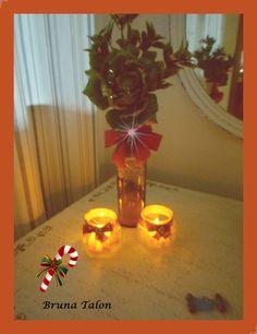 Reciclagem de vidros de azeite e geléia- Decoração Natalina -Bruna Talon