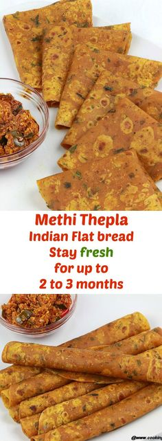 Methi Thepla Gujarati Methi Thepla, a must try lightly spices chapati like Indian flat bread is prepared from Whole Wheat flour, Fenugreek leaves and other spices. Methi Thepla are light as well as healthy. It's a all time favorite at home. Gujarati Cuisine, Gujarati Recipes, Indian Food Recipes, Vegetarian Recipes, Cooking Recipes, Ethnic Recipes, Eggless Recipes, Gujarati Food, Rice Recipes