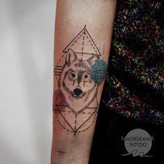 Wolf Tattoo By Nelly Morskaya   http://tattoos-ideas.net/wolf-tattoo-by-nelly-morskaya/