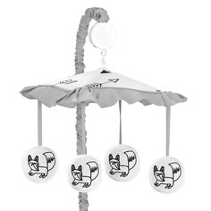 Sweet Jojo Designs Black and White Fox Collection Plastic and Fabric Musical Mobile
