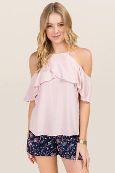 Demie Ruffle High Neck Cold Shoulder Top - pink-cl