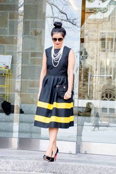LovePlayingDressup-LallaBee-NehaGandhi-LittleBlackDress-YellowStripes-PearlNecklace-Twirl-OOTD3