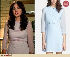 Zooey Deschanel's Lavender bow dress on New Girl. Outfit Details: http://wwzdw.com/z/4686