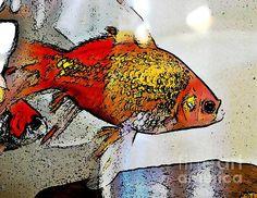 Goldfish - Sarah Loft #goldfish #fish #digitalart