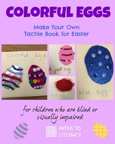 Make your own tactile book about colorful eggs for Easter for children with visual impairments or multiple disabilities.