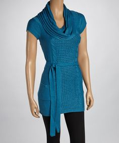 Take a look at this Teal Cap-Sleeve Sweater - Women by Ami Sanzuri on #zulily today!
