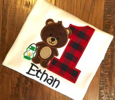 Appliqued Bear with age in red and black plaid with little lantern at his side!    Prefer another color scheme or tee color just message me with your requests!  Tee Sizes (100% Cotton) 6-12mo 11W x 13L 12- 18mo, 11.5L x 14.5L 2T, 12W x 15.5L 3T 12w X 16L 4T, 13w x 17L 6T 13.5W x 19.5L