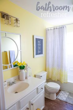Girly small bathroom ideas cute bathroom decor ideas girly bathroom decor yellow bathrooms ideas yell on Yellow Bathroom Decor, Yellow Bathrooms, Modern Bathroom, Bathroom Ideas, White Bathroom, Neutral Bathroom, Bright Bathrooms, Colorful Bathroom, Restroom Ideas
