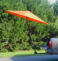 Trailer hitch mount umbrella support for tailgating, working or relaxing  #SimpLShade