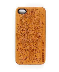 Psycho Kitten Wood Phone Case for iPhone 4/4s.  Available online from the Creep Heart store (www.creepheart.com.au).   Artwork by Ella Mobbs.   Laser etching by Vector Etch (http://www.vectoretch.com.au/).