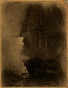 Vintage Charcoal Drawing Ship - Restored and Reconstructed - FREE SHIPPING