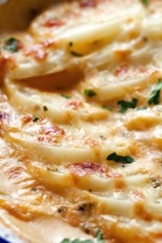 Scalloped Potatoes with Cheddar and Parmesan in Sun Dried Tomato Pesto