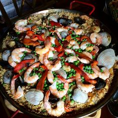 Seafood paella at a friend's house
