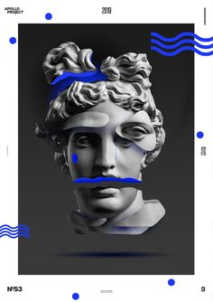 vaporwave graphics Here is an intriguing and mysterious poster with many pieces of Apollos head. Creative Poster Design, Creative Posters, Graphic Design Posters, Graphic Design Inspiration, Graphic Art, Vaporwave Art, Blue Poster, Photoshop, Collage Design