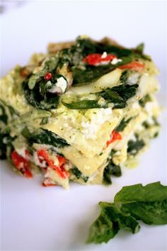 Basil always helps add a fresh taste to any dish. This Garden Lasagna is topped with basil and filled with vegetables for a great, summery taste. Some recipes for Lasagna contain meat. But have no fear vegetarians, this lasagna is meat free. Veggie Recipes, Vegetarian Recipes, Cooking Recipes, Healthy Recipes, Vegetarian Lasagne, Vegetarian Dish, Cooking Tips, Veggie Food, Yummy Recipes