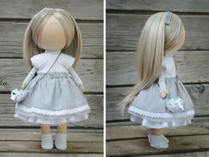 Soft doll grey blonde Handmade Gift doll Baby by AnnKirillartPlace