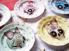 girly skull plates