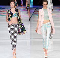 Just Cavalli 2014 Spring Summer Womens Runway Collection - Milan Fashion Week - Roberto Cavalli Printed Denim Jeans Patchwork Plaid Tartans ...