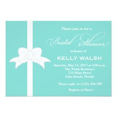 Custom Tiffany Inspired White Bow Bridal Shower Invite created by PurplePaperInvites. This invitation design is available on many paper types and is completely custom printed. Bridal Shower Invitation Wording, Custom Wedding Invitations, Tiffany's Bridal, White Bridal Shower, Wedding Silhouette, Invitation Paper, Invites, Wedding Sets, Dream Wedding
