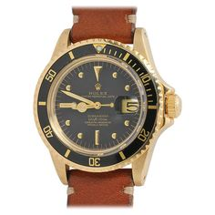Rolex Yellow Gold Submariner Wristwatch Ref 1680 circa 1978 | From a unique collection of vintage wrist watches at http://www.1stdibs.com/jewelry/watches/wrist-watches/