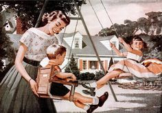 Family at the playground with the wooden swing-set seats, merry-go-round and teeter-totter. Vintage Love, Vintage Ads, Vintage Images, Pop Art, Vintage Housewife, The Good Old Days, Back In The Day, Family Life, Childhood Memories