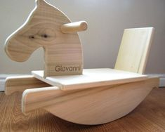 Personalized Mod Toddler Rocking Horse - organic safe wooden riding toy for infants and toddlers by littlesaplingtoys on Etsy $80 #toysforkids