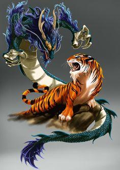 Tigre y dragón – unknown animals Dragon Tiger Tattoo, Tiger Dragon, Fantasy Kunst, Dark Fantasy Art, Japanese Tattoo Art, Japanese Art, Dragon Artwork, Tiger Art, Mythical Creatures Art