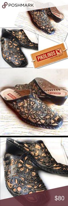 PIKOLINOS BLACK LASER CUT SHOES CLOGS MULES 35 5.5 PIKOLINOS BLACK LASER CUT SHOES CLOGS MULES EURO SZ 35 US SZ 5 - 5.5 PIKOLINOS Shoes Mules & Clogs