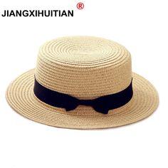 Barato 2018 hot verão mulheres boater praia chapéu feminino casual chapéu  panamá senhora marca clássica plana b0654235e7e