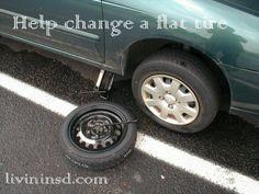 Help change a tire.   Christmas 365: Day 47 - Livin in San Diego Livininsd.con #payitforward #randomactsofkindness
