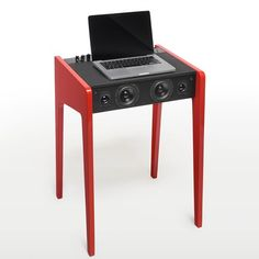LD 120 Laptop Desk Red - Transform any workspace into your own personal DJ booth with the La Boite Concept Sound and Laptop Desk. A powerful workstation, it easily plays music from your laptop, cell phone, iPad, or iPod. Dj Setup, Beautiful Home Designs, Fab Life, Audio, Laptop Desk, Built In Speakers, Red Design, Work Surface, Stores