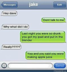 Funny Texts Pranks Laughing So Hard Guys 30 Best Ideas Funny Drunk Texts, Funny Text Memes, Text Jokes, Drunk Humor, Funny Jokes, Stupid Texts, Hilarious Texts, Epic Texts, Text Pranks