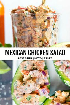 Mexican Chicken Salad *NEW*Make this EASY keto chicken salad recipe because you're tired of plain low carb salads for lunch, or because it's SO creamy delicious, versatile, and never gets old! Serve it over avocado for a real WIN! Mexican Chicken Salads, Low Carb Chicken Salad, Chicken Salad Recipes, Healthy Salad Recipes, Low Carb Recipes, Salad Chicken, Pasta Salad, Vegetarian Recipes, Tuna Pasta