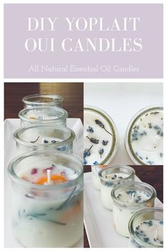 DIY All Natural Essential Oil Candles - Easy Yoplait Oui Jar Candles - Savor for the Soul Natural Candles, Diy Candles, Mason Jar Candles, Yankee Candles, Handmade Candles, Crafts With Glass Jars, Mason Jar Crafts, Essential Oil Candles, Natural Essential Oils