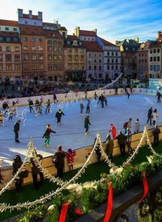 Ice skating in Old Town Square, Warsaw Poland
