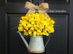 spring wreath Easter wreaths, front door wreaths decorations,yellow tulips summer wreaths
