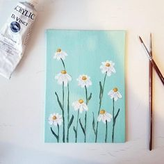 Sweet and simple daisy painting on canvas board. Background is a light seafoam green. This painting can lean onto something, or can fit into a deeper frame, no hanging mechanism comes on the back. Small Canvas Paintings, Easy Canvas Art, Small Canvas Art, Cute Paintings, Mini Canvas Art, Easy Art, Easy Wall Art, Photo Canvas, Daisy Painting