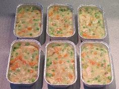 Make-Ahead Mini Chicken Pot Pies from Make Ahead Meals For Busy Moms This is what they look like before you top each pie with a crust. Then freeze them and pull one out to bake each time you need it!