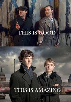 They are BOTH amazing! RDJ and Jude Law do an amazing job. As do Benedict Cumberbatch and Martin Freeman! I love both of them as Sherlock and Watson! Sherlock Holmes Bbc, Sherlock Fandom, Sherlock John, Funny Sherlock, Johnlock, Martin Freeman, Detective, Vatican Cameos, Mrs Hudson