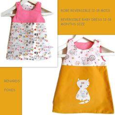 ecd489a3c708f Robe Chasuble Bébé 12-18 mois Robe Réversible Trapèze Coton Renards  Moutarde et Rose Printemps. Un grand marché
