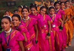 Indian girls dressed in traditional attire wait to get into the grounds where they were to perform during the final dress rehearsal of the Republic Day parade in New Delhi India [1200 x 837]
