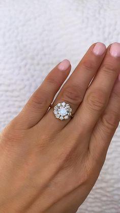 Vintage inspired engagement ring Vintage Diamond Rings, Antique Rings, Vintage Rings, Diamond Cluster Engagement Ring, Halo Engagement Rings, Diamond Flower, Diamond Cuts, Vintage Inspired Engagement Rings, Bohemian Rings