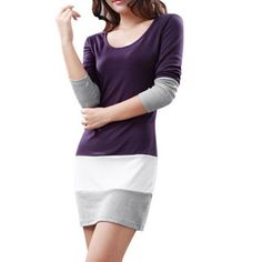 Women's Pullover Long Sleeve Colorblock Bodycon Casual Dress Purple-XS