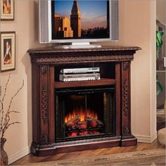 San Andorra 66 TV Stand with Electric Fireplace Home