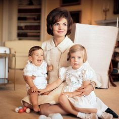 jackiekennedyphotos - 1961: Jackie with John Jr, and Caroline by Mark Shaw.