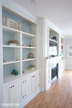 New Wall Storage Unit Built Ins Entertainment Center Ideas - entertainment center ideas living room Living Room Built Ins, Living Room White, White Rooms, Home And Living, Living Rooms, Small Living, Shelves Around Fireplace, Fireplace Built Ins, Fireplace Wall